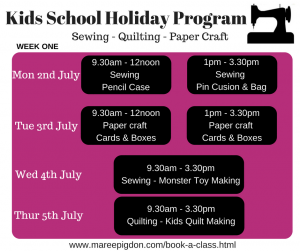 Schedule W1 - Kids School Holiday Program
