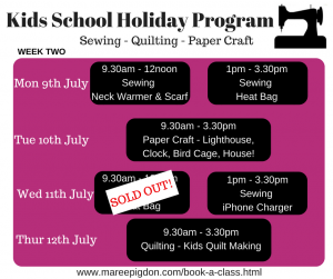 Schedule W2 - Kids School Holiday Program