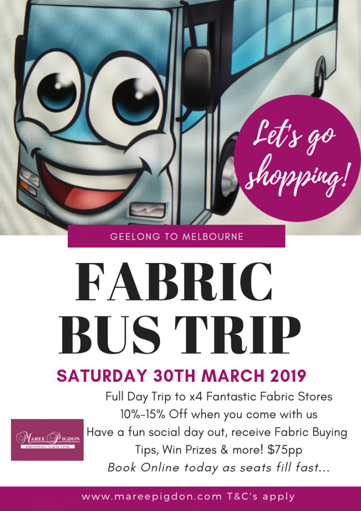 Fabric Buying Bus Trip Poster