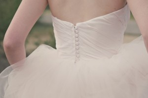 Covered Button Wedding Dress